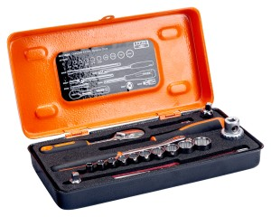 "BAHCO Socket sets, 1/4"", 18 pieces inches. Metal case A6718DZ"